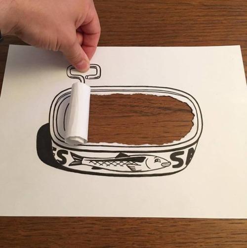 1枚の紙とペンで作った3Dアートの画像(11枚目)