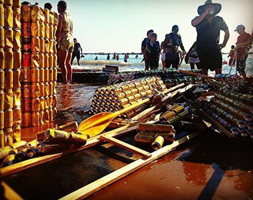 ビールの缶でボートを作って競争の画像(10枚目)