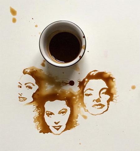 【画像】こぼれたコーヒーのシミで絵を描く!洋風の水墨画のようなアート!!の画像(9枚目)