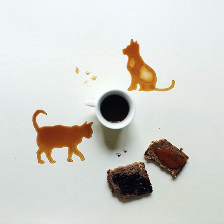 【画像】こぼれたコーヒーのシミで絵を描く!洋風の水墨画のようなアート!!の画像(14枚目)