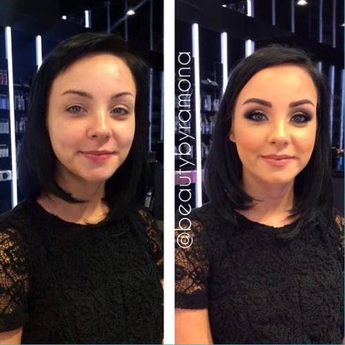 女性の化粧をする前と後の画像(12枚目)