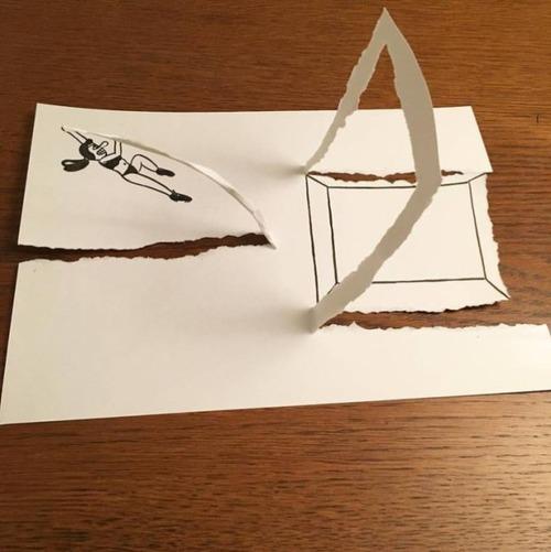 1枚の紙とペンで作った3Dアートの画像(17枚目)