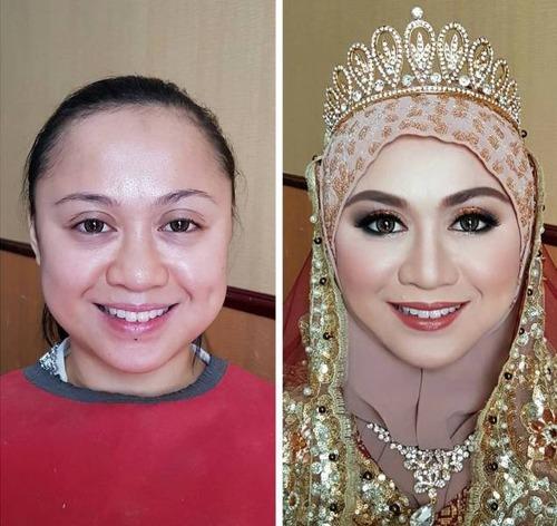 女性の化粧をする前と後の画像(17枚目)