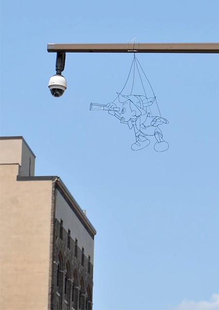 空に絵を描くワイヤーアート02