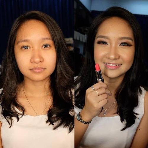 女性の化粧をする前と後の画像(9枚目)
