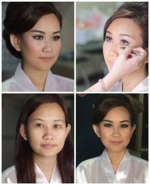 女性の化粧をする前と後の画像(6枚目)