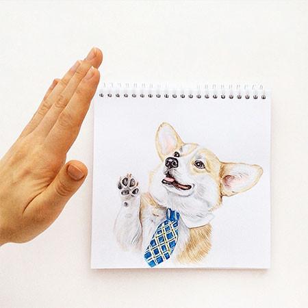 犬の絵が小道具1つで生きてるように見える!!の画像(4枚目)