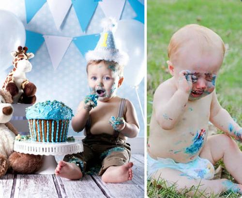 赤ちゃんとの記念撮影の理想と現実の画像(1枚目)