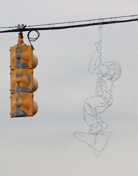空に絵を描くワイヤーアート09