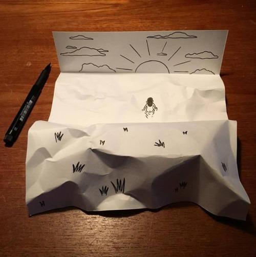 1枚の紙とペンで作った3Dアートの画像(7枚目)