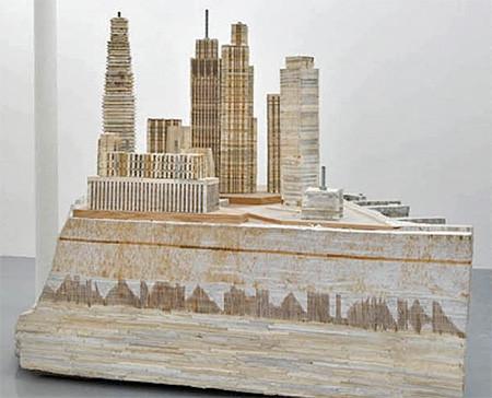 本で作られた大都市のジオラマの画像(4枚目)