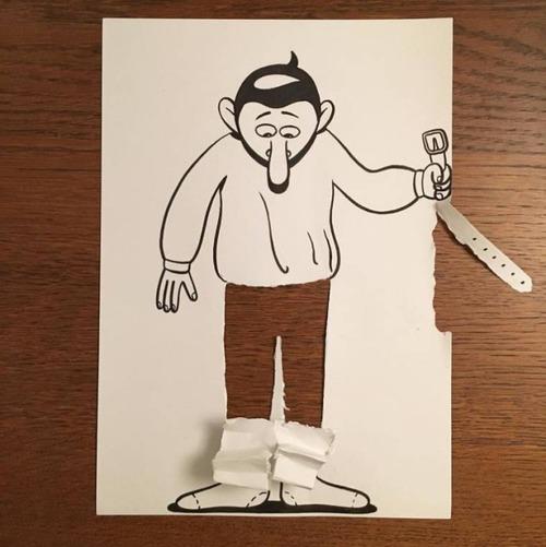 1枚の紙とペンで作った3Dアートの画像(4枚目)
