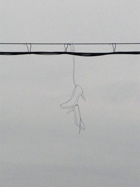 空に絵を描くワイヤーアート08
