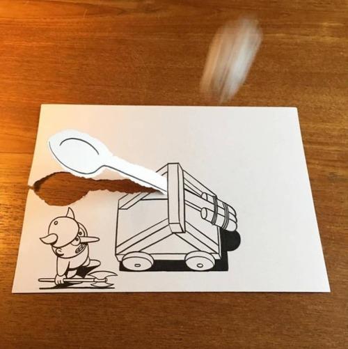 1枚の紙とペンで作った3Dアートの画像(15枚目)