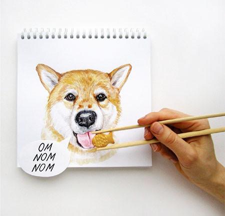 犬の絵が小道具1つで生きてるように見える!!の画像(14枚目)
