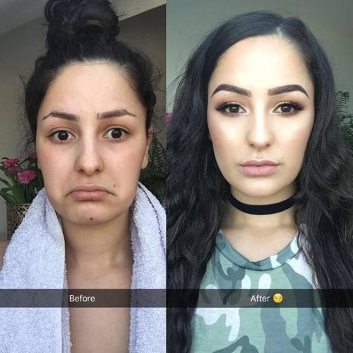 女性の化粧をする前と後の画像(19枚目)