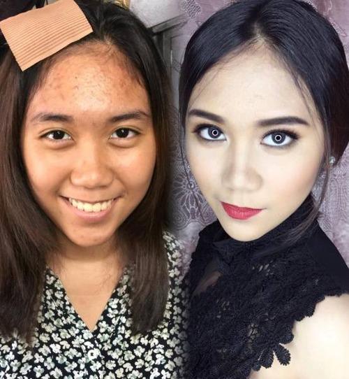 女性の化粧をする前と後の画像(23枚目)