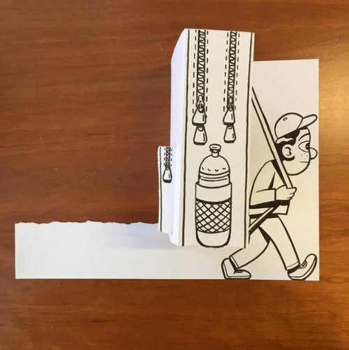 1枚の紙とペンで作った3Dアートの画像(20枚目)