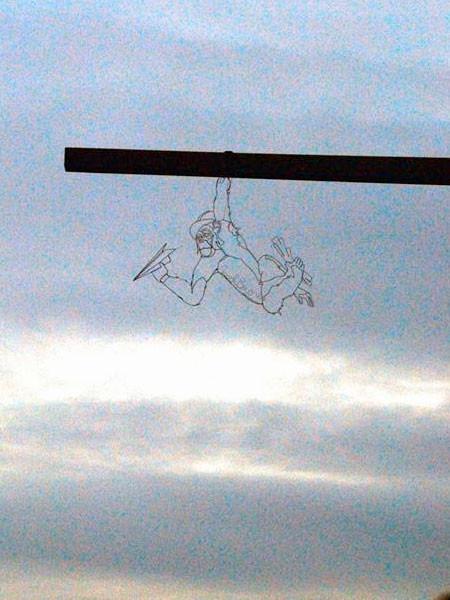 空に絵を描くワイヤーアート12