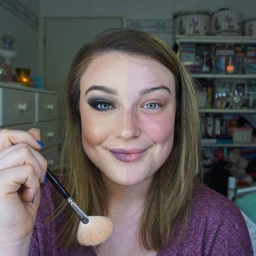 女性の化粧をする前と後の画像(29枚目)