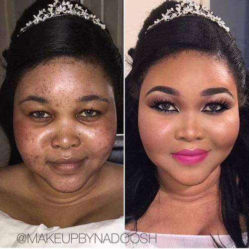 女性の化粧をする前と後の画像(2枚目)
