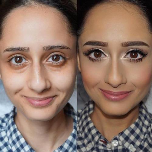 女性の化粧をする前と後の画像(26枚目)