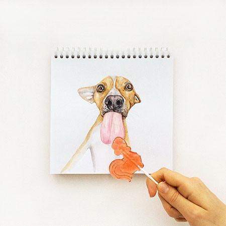 犬の絵が小道具1つで生きてるように見える!!の画像(6枚目)
