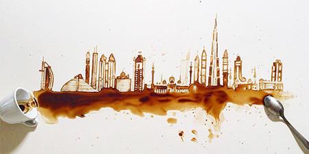 【画像】こぼれたコーヒーのシミで絵を描く!洋風の水墨画のようなアート!!の画像(1枚目)