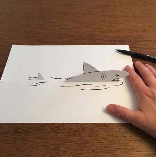 1枚の紙とペンで作った3Dアートの画像(19枚目)