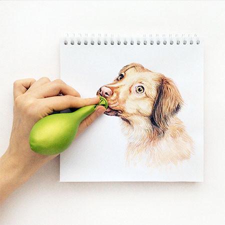 犬の絵が小道具1つで生きてるように見える!!の画像(7枚目)