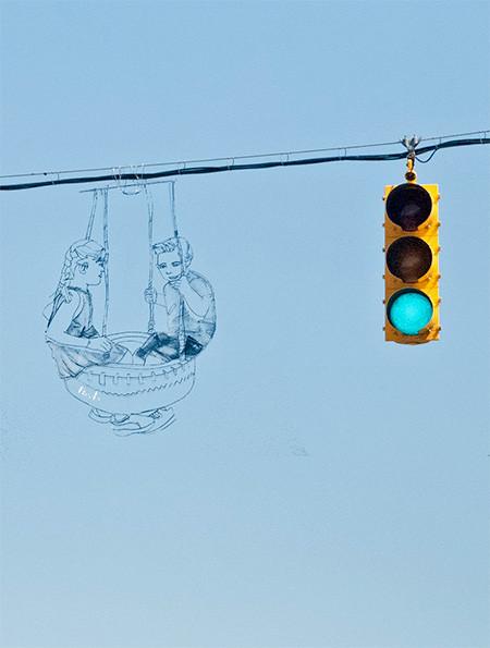 空に絵を描くワイヤーアート06