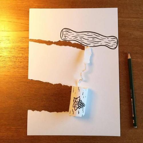 1枚の紙とペンで作った3Dアートの画像(12枚目)
