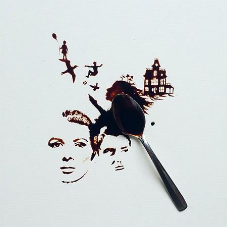 【画像】こぼれたコーヒーのシミで絵を描く!洋風の水墨画のようなアート!!の画像(13枚目)
