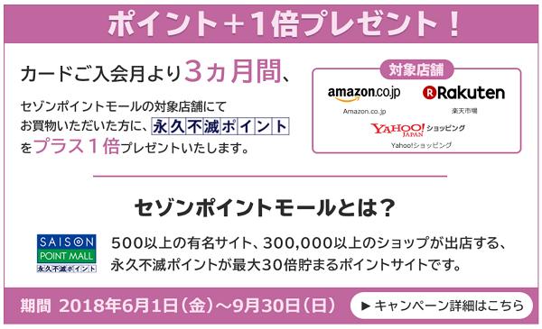 セゾンカード セゾンポイントモール+1倍キャンペーン