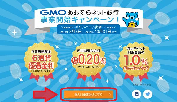 GMOあおぞらネット銀行 口座開設