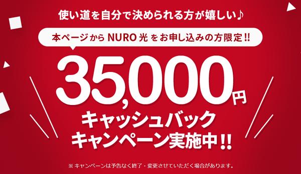 NURO光 キャッシュバック 2018年10月