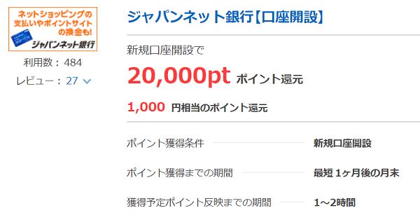 ポイントタウン ジャパンネット銀行