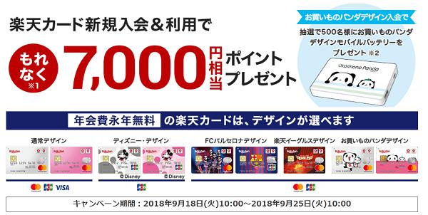 楽天カード公式キャンペーン 2018年9月