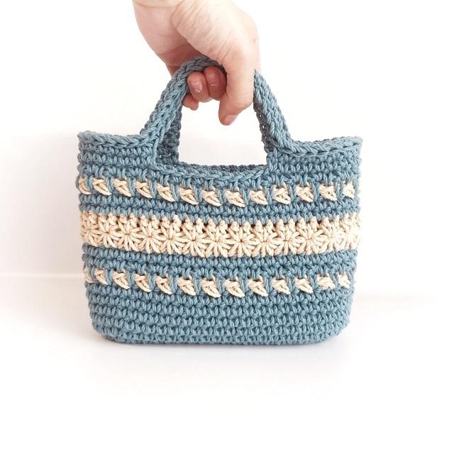 手編み雑貨 HanahanD コットンバッグ 手編みバッグ お散歩バッグ