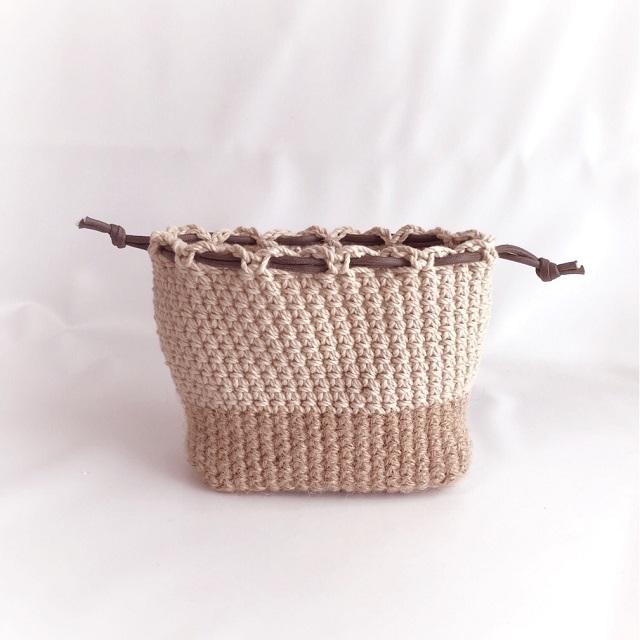 手編み雑貨 HanahanD 巾着袋 夏 麻 巾着