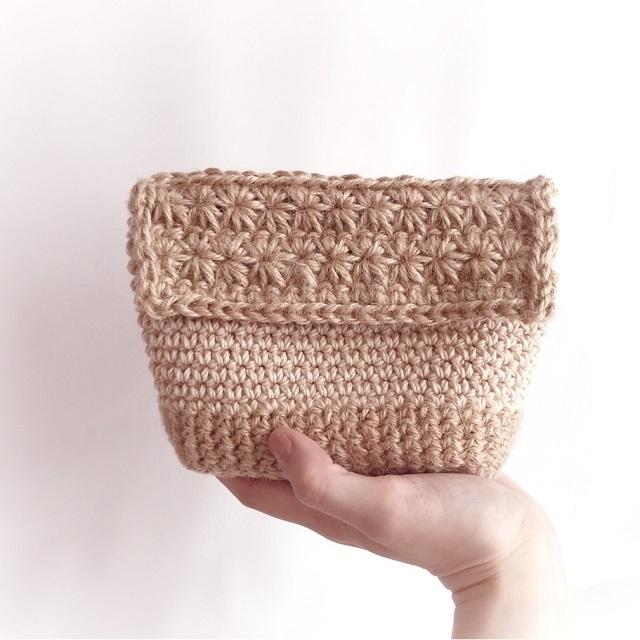 手編み雑貨 HanahanD リネン かごポーチ 麻ポーチ バッグイン