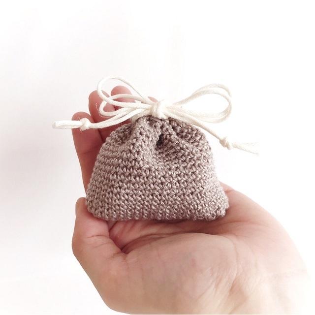 手編み雑貨 HanahanD リネン ラメ 巾着