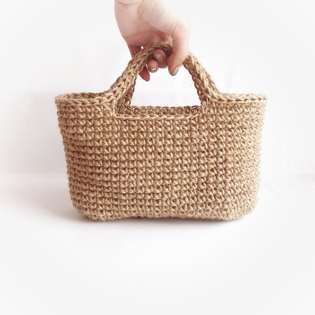 手編み雑貨 HanahanD 麻バッグ 手編みバッグ かごバッグ width=