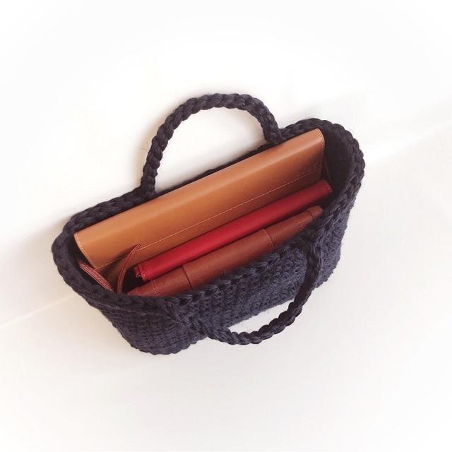 手編み雑貨 はなはんど リネンバッグ ハンドバッグ 麻バッグ