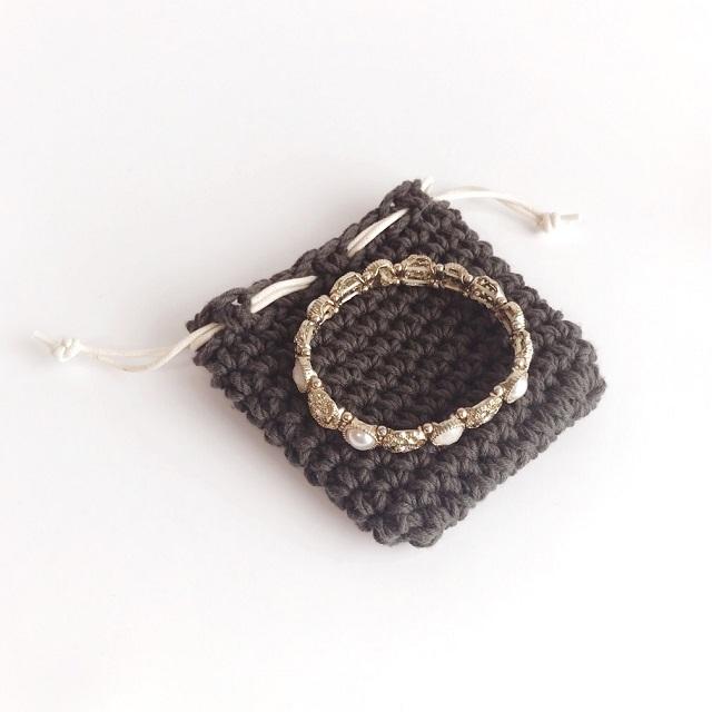 手編み雑貨 HanahanD パワーストンブレスレット ケース 巾着袋