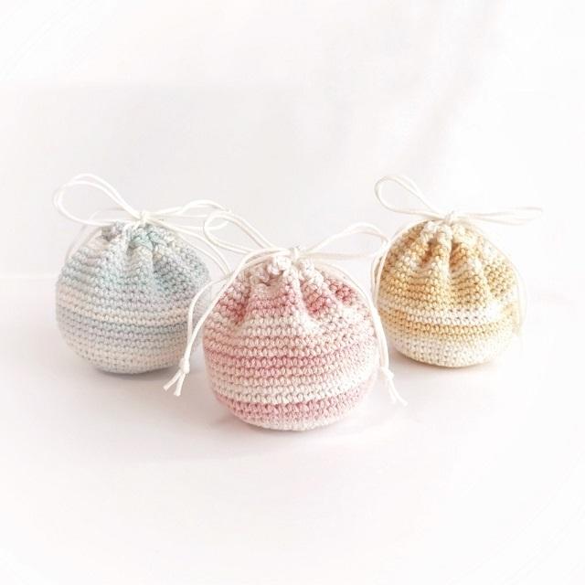 手編み雑貨 HanahanD 巾着 巾着袋 パステル