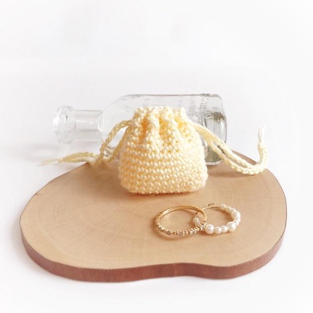 手編み雑貨 HanahanD リングケース ミニ巾着 レース