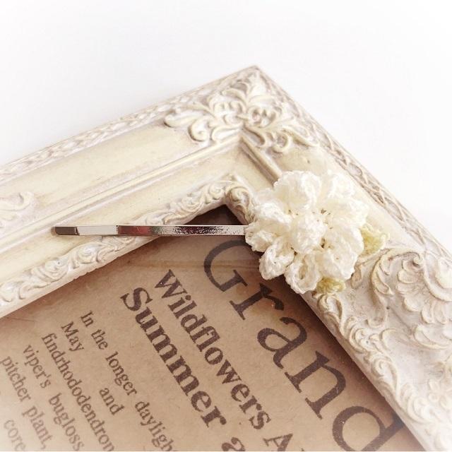 手編み雑貨 HanahanD 八重咲ペチュニア 春の花 ヘアピン