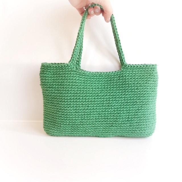 手編み雑貨 はなはんど リネンバッグ 麻バッグ 手編みかばん