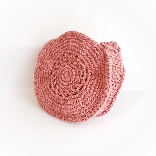 手編み雑貨 HanahanD コットンバッグ 円形バッグ ハンドバッグ